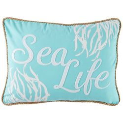 Coastal Home Blue Mood Shells Sealife Decorative Pillow
