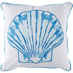 Coastal Home Blue Mood Scallop Shell Decorative Pillow