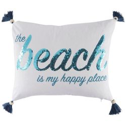 Red Pineapple Beach Happy Place Decorative Pillow