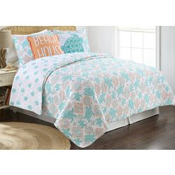 Red Pineapple Ocho Rios Turtle Coral Quilt Set
