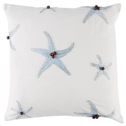 Coastal Home Breezy Blues Beaded Starfish Decorative Pillow