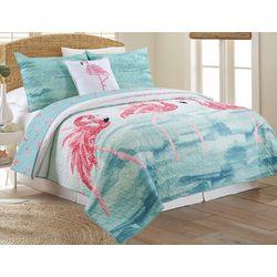 Coastal Home Flamingo Flock Quilt Set
