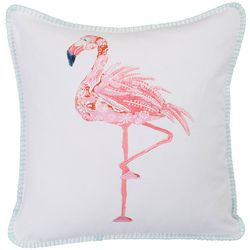 Coastal Home Flamingo Flock Emboridered Decorative Pillow
