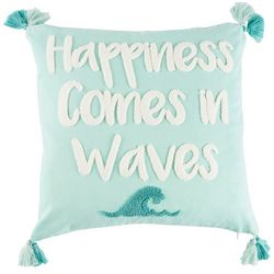 Coastal Home Flamingo Flock Waves Decorative Pillow