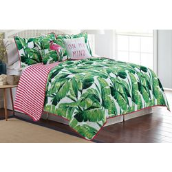 Red Pineapple Nosara Leaf Quilt Set