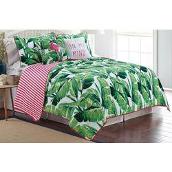 Red Pineapple Nosara Leaf Quilt Set