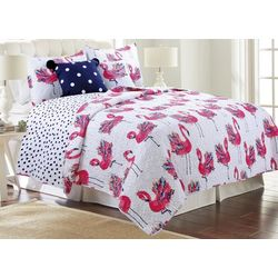 Red Pineapple Flower Flamingo Quilt Set