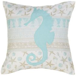 Coastal Home Sophisticated Seahorse Decorative Pillow