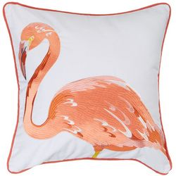 Red Pineapple Embroidered Flamingo Decorative Pillow