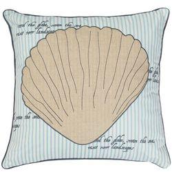 Coastal Home Shell Applique Decorative Pillow