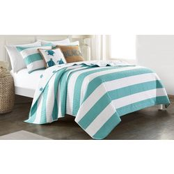 Tackle & Tides Cabana Stripe Aqua Sea Turtle Quilt Set