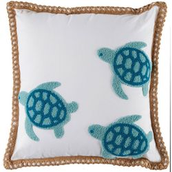 Tackle & Tides Embroidered Turtle Crewel Decorative Pillow