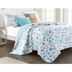 Red Pineapple Watercolor Shells Quilt Set