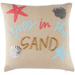 Red Pineapple Toes In The Sand Decorative Pillow