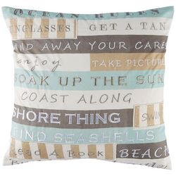 Coastal Home Cabana Stripe Beach Rules Decorative Pillow