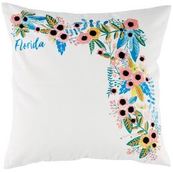 Coastal Home Floral State of Florida Decorative Pillow