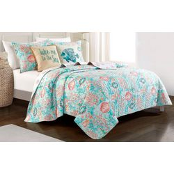 Red Pineapple Underwater Seascape Quilt Set