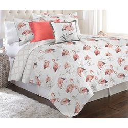Red Pineapple Savannah Flamingo Quilt Set