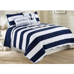 Tackle & Tides Anchor Stripe Quilt Set