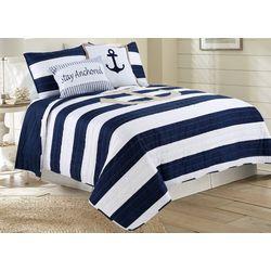 Tackle & Tides Anchor Stripe Quilt Set