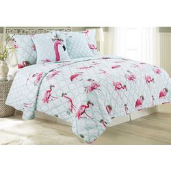Red Pineapple Flamingo Trellis Quilt Set