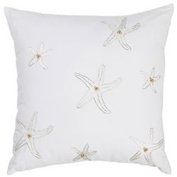 Coastal Home Aqua Shells Beaded Starfish Decorative Pillow