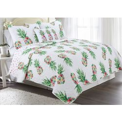 Red Pineapple Monroe Pineapple Quilt Set