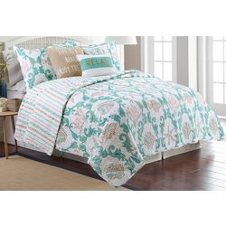 Elise & James Home Evander Scroll Sea Life Quilt Set