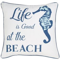 Red Pineapple Life Is Good Seahorse Decorative Pillow