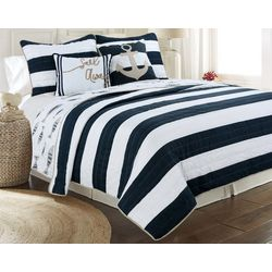 Tackle & Tides Cabana Stripe Fish Quilt Set