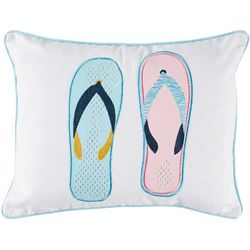 Red Pineapple Flip Flops Decorative Pillow