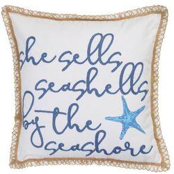 Coastal Home She Sells Seashells Decorative Pillow