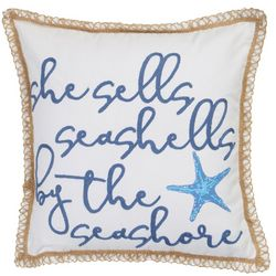 Coastal Home She Sells Seashells Decorative Pillow