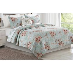 Coastal Home Hibiscus Flamingo Quilt Set