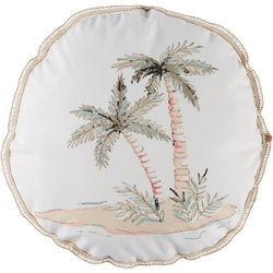 Coastal Home Hibiscus Flamingo Palm Tree Decorative Pillow