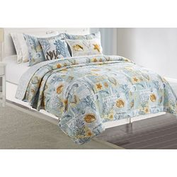 Coastal Home Shell Postcard Quilt Set