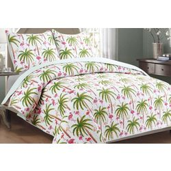 Panama Jack Flamingo Palm Quilt Set