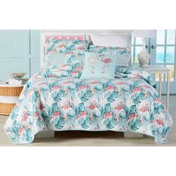 Panama Jack Fancy Flamingo Quilt Set