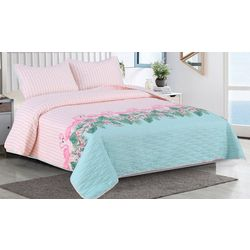 Tropic Winds Flamingo Stripe Comforter Set
