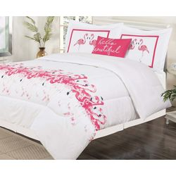 Tropic Winds Flamingo Flock Comforter Set