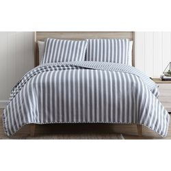 Beatrice Grey Stripe Quilt Set