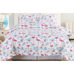 Tropic Winds Flamingo Lily Quilt Set