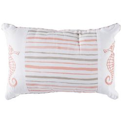 Retreat Home Collection Stripe Seahorse Decorative Pillow
