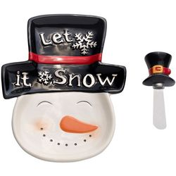 Pfaltzgraff 2-pc. Snowman Tidbit Tray & Spreader Set