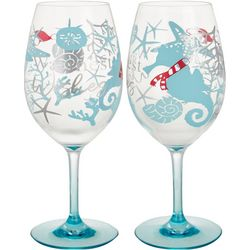 Brighten the Season Sandy Shore 2-pc. Wine Goblet Set