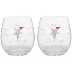 Brighten the Season Sandy Shore 2-pc. Stemless Wine Set