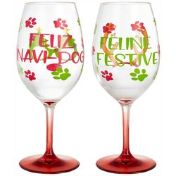Brighten the Season Furry & Bright 2-pc. Wine Goblet Set