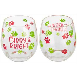 Brighten the Season Furry & Bright 2-pc. Stemless Glass Set