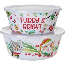 Brighten the Season Furry & Bright Cat 2-pc.Nested Bowl Set