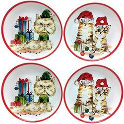 Brighten the Season 4-pc Happy Pawlidays Cat Appetizer Plate